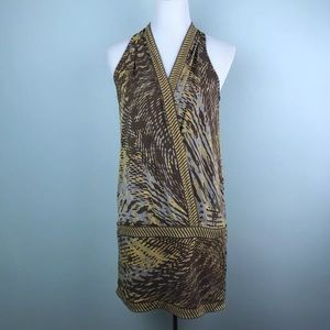 BCBG Maxazria faux wrap blouson dress stretch knit